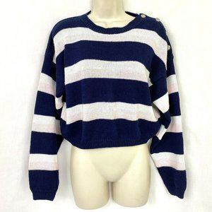 Vintage 90s Cropped Sweater L Edebe Striped